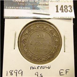 1483 _ 1899 Newfoundland Silver Half Dollar, Extra Fine, narrow 9s variety.