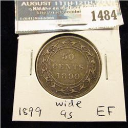 1484 _ 1899 Newfoundland Silver Half Dollar, Extra Fine,wide 9s variety.