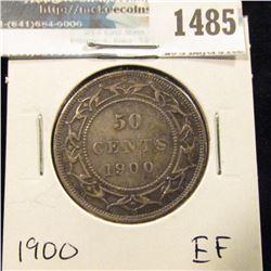 1485 _ 1900 Newfoundland Silver Half Dollar, Extra Fine.
