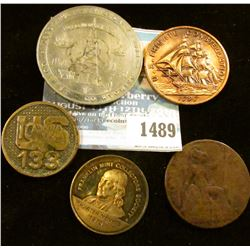 "1489 _ Interesting group of tokens and medals: ""U.S./Iowa/133"", reverse may have had a pin attached;"