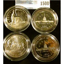 1508 _ Proof And Uncirculated Commemorative Half Dollar Statute Of Liberty, Mt Rushmore, And 2 Bicen