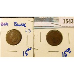 1543 _ 1864 And 1865 Indian Head Cents