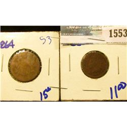 1553 _ 1864 Two Cent Piece And 1865 Indian Head Cent
