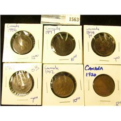 1563 _ Canadian Large Cent Lot Includes The Following 1897, 1886, 1901,  1920, 1912, And 1898-H