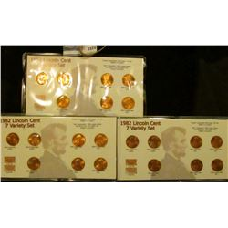 1570 _ (3) Sets Of 7 Varieties 1982 Lincoln Memorial Cents
