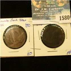 1580 _ Two 1844 Canadian Bank Tokens