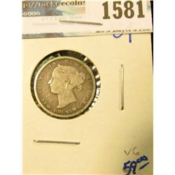 1581 _ 1864 Silver Dime From New Brunswick