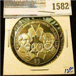 1582 _ Republic Of Liberia Five Dollar Coin Commemorating The Battle Of Gettysburg With General Robe