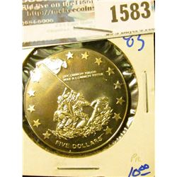 1583 _ Proof Liberia Five Dollar Coin Commemorating The Raising Of The Over Mt Siribachi On The Isla