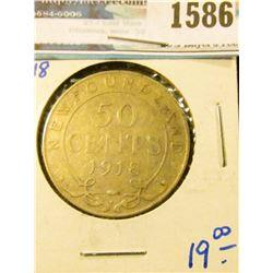 1586 _ 1918-C Newfoundland Silver Half Dollar