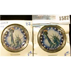 1587 _ Two Liberia Five Dollar Coins With A Colorized Statute Of Liberty