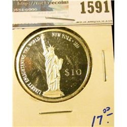 1591 _ 2000 Ten Dollar Silver Coin From Liberia With The Statute Of Liberty On The Front