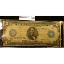 1595 _ Series Of 1914 Five Dollar Horse Blanket Note