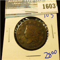 1603 _ 1831 Coronet Head Large Cent With Full Liberty Visible