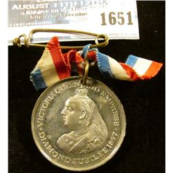 1651 _ 1897 Diamond Jubilee Medal With Ribbon Commemorating The 60th Year Of Reign By Queen Victoria