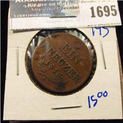 1695 _ Austria 1816-A One Einen Kreuzer Bronze Coin