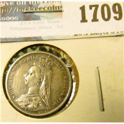 1709 _ 1887 British Sixpence Coin With Queen Victoria On The Front