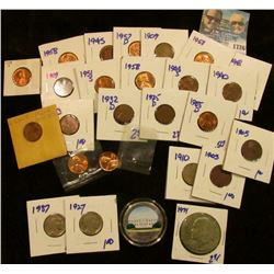 1726 _ Hodgepodge Coin Lot Includes 1971 Ike Dollar, Red Wheat Cents, Two 1909 Wheat Cents, George W