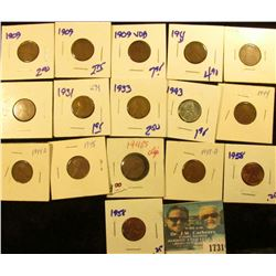 1731 _ Lincoln Wheat Cent Lot Includes 1909-VDB, 1909, 1943, 1911-D & More. (16 pcs.)