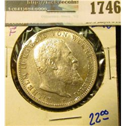 1746 _ 1909-F German States/ Wuertemberg Silver Three Mark Coin