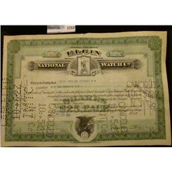 "1753 _ Stock Certificate for 100 Shares of ""Elgin National Watch Co."" dated July 23, 1927."