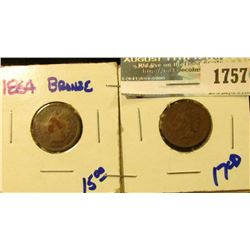 1757 _ 1864 And 1865 Civil War Era Indian Head Cents