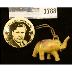 1788 _ Our Next President Wendell Wilkie Pin-back With The Republican Elephant
