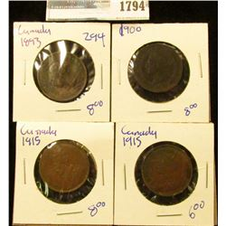 1794 _ 4 Canadian Large Cents Dated 1915, 1915, 1900, And 1893