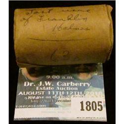 1805 _ 1963 D Original Gem BU Bank wrapped roll of 90% Silver Franklin Half Dollars, (20 pcs.)