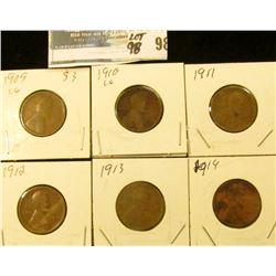 1909 P, 10 P, 11 P, 12 P, 13 P, & 14 P Lincoln Cents, all pre World War I