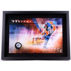 "Wayne Gretzky Signed Oilers ""Slap Shot"" 22x30 Custom Framed Photo Display with Hockey Puck Breakthro"