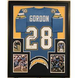 "Melvin Gordon Signed Chargers 34"" x 42"" Custom Framed Jersey (Beckett COA)"