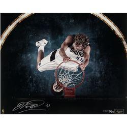 "Dirk Nowitzki Signed Mavericks ""Trademark"" 16x20 Photo LE (Panini COA)"