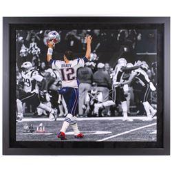 "Tom Brady Signed LE Patriots ""Touch Down Celebration"" 39"" x 47"" Custom Framed Photo Display (TriStar"