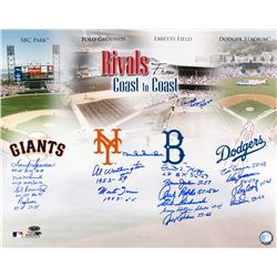 Coast to Coast Rivals 16x20 Photo Signed by (18) with Duke Snider, Monte Irvin, Don Zimmer, Johnny P