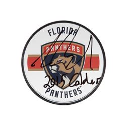 "Aaron Ekblad Signed Panthers Acrylic Hockey Puck Inscribed ""2015 Calder"" (UDA COA)"