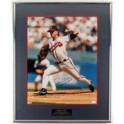 """Tom Glavine Signed Braves 22x27 Framed Photo Display Inscribed """"95 W.S. MVP"""" (JSA COA)"""