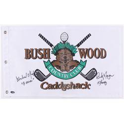 "Cindy Morgan  Michael O'Keefe Signed 12x20 Caddyshack Gopher Logo Bushwood Flag Inscribed ""Lacey""  """
