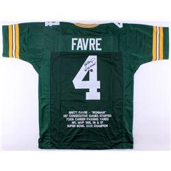 """Brett Favre Signed Packers Career Highlight Stat Jersey Inscribed """"'95, '96, '97 MVP"""" (Brett Favre C"""