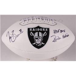 "Tim Brown Signed Raiders Logo Football Inscribed ""HOF 2015""  ""Raiders Nation"" (Radtke COA)"