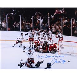 Jim Craig Signed Team USA 16x20 Photo Inscribed  Do You Believe In Miracles?  (Steiner COA)