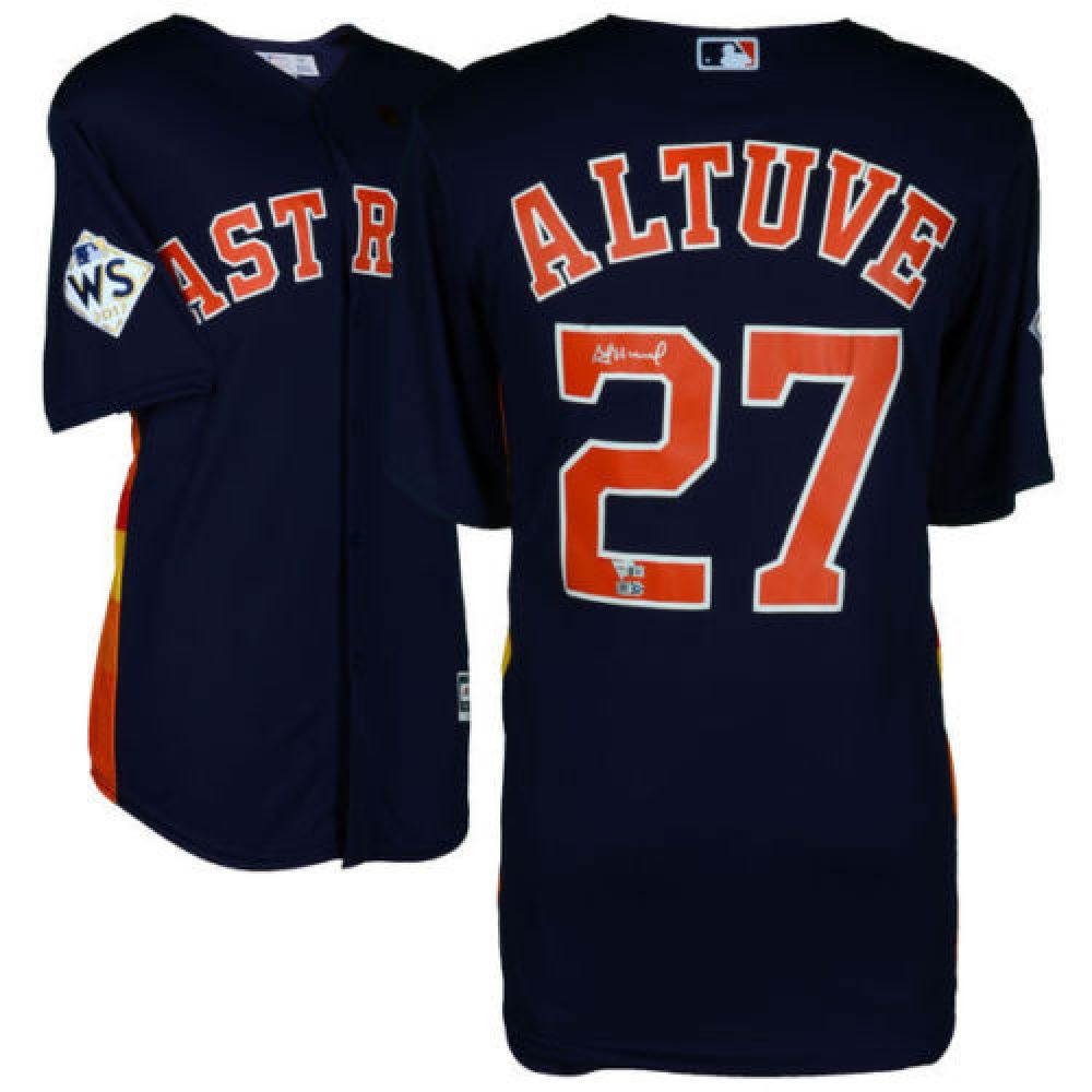 low priced aaf01 b73cb Jose Altuve Signed Astros Jersey with 2017 World Series Patch