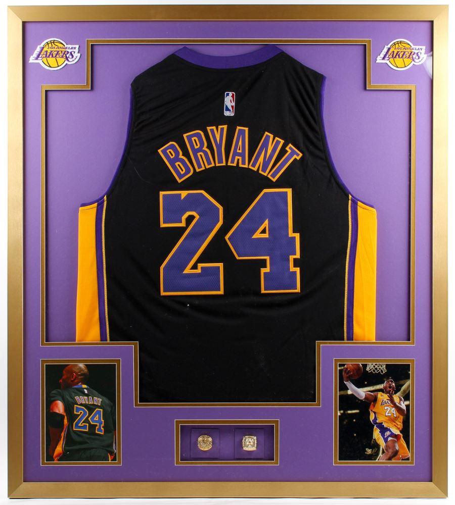 super popular e3578 27fe7 Kobe Bryant Black Alternate Lakers 34x38 Custom Framed ...