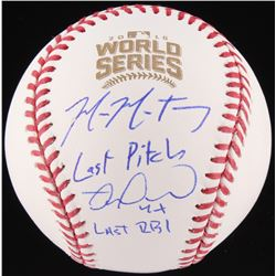 """Mike Montgomery  Miguel Montero Signed Official 2016 World Series Baseball Inscribed """"Last Pitch""""  """""""