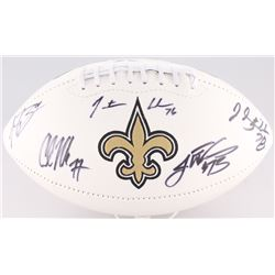 Saints Logo Football Team-Signed By (5) With Jahri Evans, Jonathan Goodwin, Carl Nicks, Jon Stinchom
