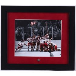 """1980 """"Miracle on Ice"""" Team USA 13x15 Custom Framed Photo Display with Vintage Pin"""