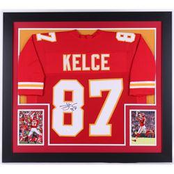 Travis Kelce Signed Chiefs 31.5x35.5 Custom Framed Jersey (JSA COA)