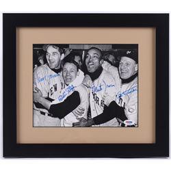Leo Durocher, Eddie Stanky, Larry Jansen  Monte Irvin Signed 13x15 Custom Framed Photo (PSA LOA)