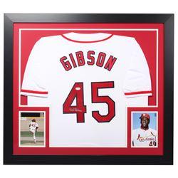 Bob Gibson Signed Cardinals 31.5x35.5 Custom Framed Jersey (JSA COA)