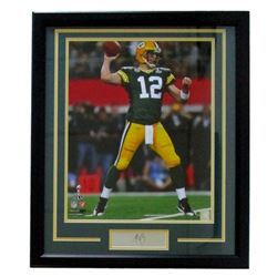 Aaron Rodgers Packers 22x27 Custom Framed Photo with Laser Engraved Signature